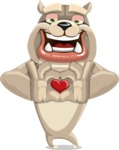 Cute English Bulldog Cartoon Vector Character AKA Rocky the Bulldog - Show Love