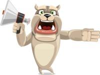 Cute English Bulldog Cartoon Vector Character AKA Rocky the Bulldog - Loudspeaker