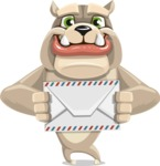 Cute English Bulldog Cartoon Vector Character AKA Rocky the Bulldog - Letter