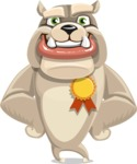 Cute English Bulldog Cartoon Vector Character AKA Rocky the Bulldog - Ribbon