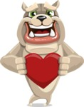 Cute English Bulldog Cartoon Vector Character AKA Rocky the Bulldog - Love