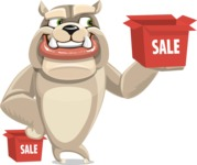 Cute English Bulldog Cartoon Vector Character AKA Rocky the Bulldog - Sale
