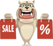 Cute English Bulldog Cartoon Vector Character AKA Rocky the Bulldog - Sale 2