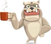 Cute English Bulldog Cartoon Vector Character AKA Rocky the Bulldog - Coffee