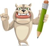 Cute English Bulldog Cartoon Vector Character AKA Rocky the Bulldog - Pencil