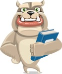 Cute English Bulldog Cartoon Vector Character AKA Rocky the Bulldog - Book 3