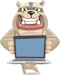 Cute English Bulldog Cartoon Vector Character AKA Rocky the Bulldog - Laptop 2