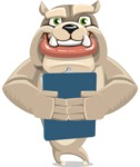 Cute English Bulldog Cartoon Vector Character AKA Rocky the Bulldog - Notepad 2