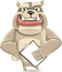 Cute English Bulldog Cartoon Vector Character AKA Rocky the Bulldog - Notepad 4