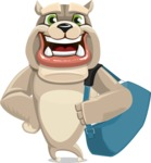Cute English Bulldog Cartoon Vector Character AKA Rocky the Bulldog - Travel 2