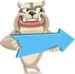 Cute English Bulldog Cartoon Vector Character AKA Rocky the Bulldog - Pointer 2