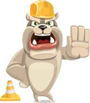 Cute English Bulldog Cartoon Vector Character AKA Rocky the Bulldog - Under Construction 1