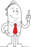 Businessman Pointing Up Outline