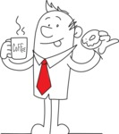 Office Guy with Coffee and Donut