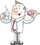 Cartoon Businessman with Coffee and Donut