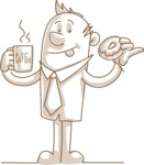 Monochrome Businessman with Coffee and Donut
