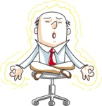 Cartoon Businessman Meditating