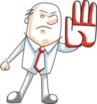 Cartoon Businessman Making Stop Gesture