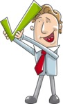 Cartoon Businessman Holding a Checkmark