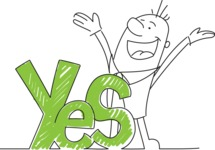 Outline Happy Businessman Saying Yes