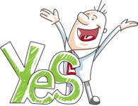 Cartoon Businessman Shouting Yes