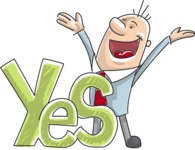 Cheerful Businessman Saying Big Yes