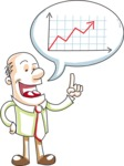 Cartoon Businessman Talking About Graph Chart