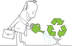 Outline Businessman Watering a Recycle Plant