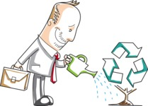 Cartoon Businessman Watering a Recycle Plant