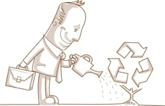 Monochrome Businessman Watering a Recycle Plant