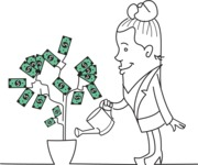 Outline Business Woman Making Money