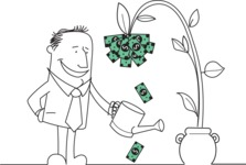 Outline Businessman Watering Money Plant