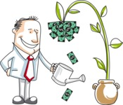 Cartoon Businessman Watering a Money Plant