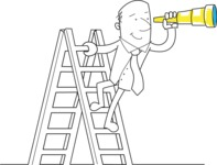 Outline Businessman With Telescope