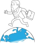 Outline Businessman Running On Globe