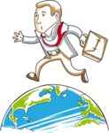 Cartoon Businessman Running On Globe