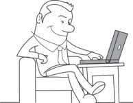 Outline Businessman with Laptop
