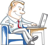Cartoon Businessman with Laptop