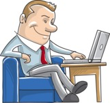 Businessman with Laptop Illustration