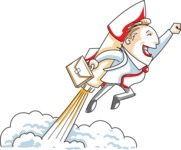 Cartoon Businessman Flying With a Rocket