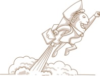 Monochrome Businessman Flying With a Rocket