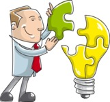 Businessman Finishing a Light Bulb Puzzle