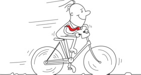 Outline Businessman Riding a Bike