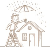 Businessman Protecting House from Rain