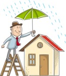 Businessman Protecting Home from Rain