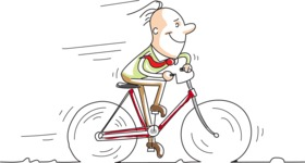 Cartoon Businessman on a Bike