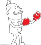 Outline Businessman Boxing