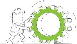 Outline Businessman Pushing a Cogwheel