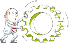 Cartoon Businessman Pushing a Cogwheel