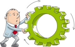 Businessman Pushing a Gear Wheel